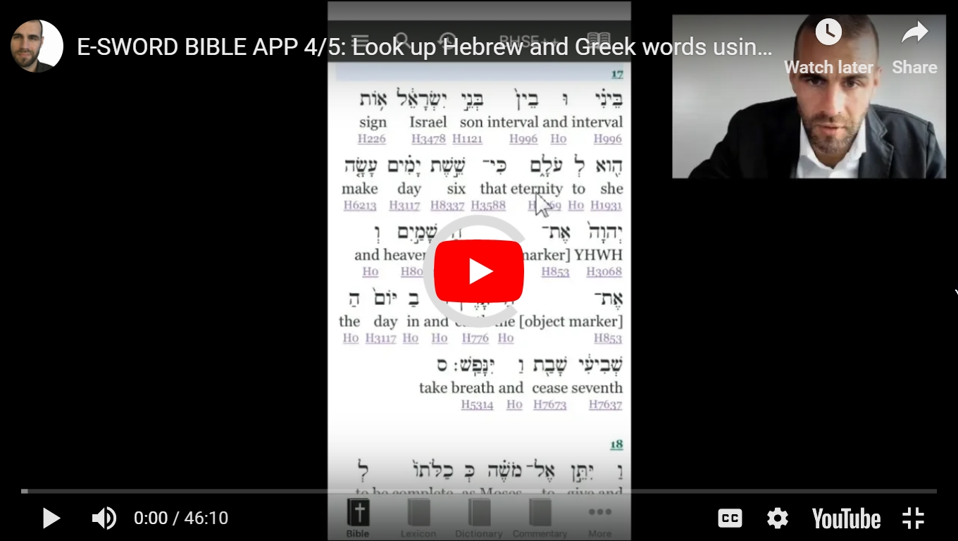 E-SWORD BIBLE APP 4/5: Look up Hebrew and Greek words using Strong's
